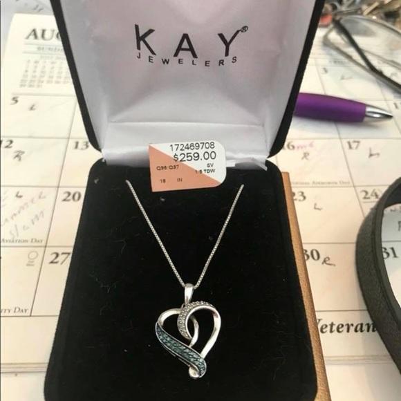 529d1c8b6 Kay Jewelers Jewelry   White Blue Diamond Heart Necklace   Poshmark